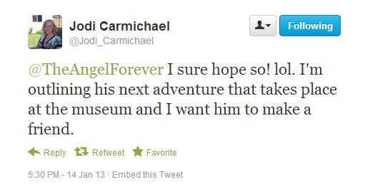 Tweet from author Jodi Carmichael