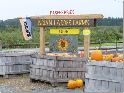 Sign by the Indian Ladder Farms Store