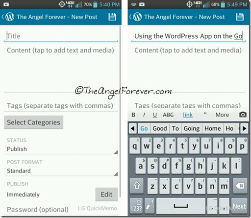 Writing a post with the WordPress app
