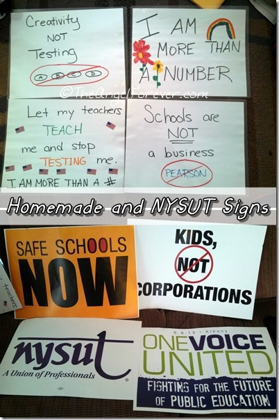 Rally signs from One Voice United for Public Education