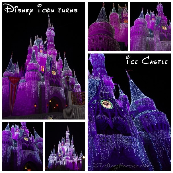 Cinderella's Castle covered in ice lights