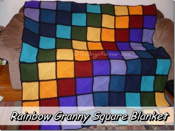 Finished Rainbow Granny Square Crochet Blanket