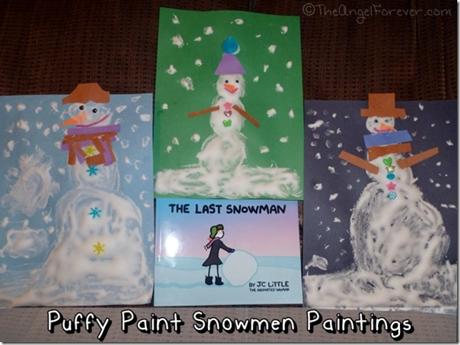 Puffy Paint Snowmen Paintings
