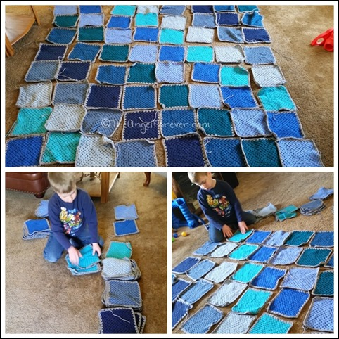 Setting up the Hues in Blues Blanket Pattern