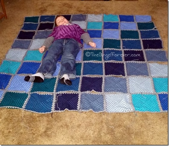 Size of Hues in Blue Granny Square Blanket