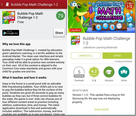 Bubble Pop Math Challenge 1-2