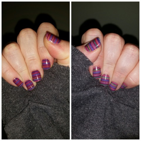 Stitched Away manicure for the winter