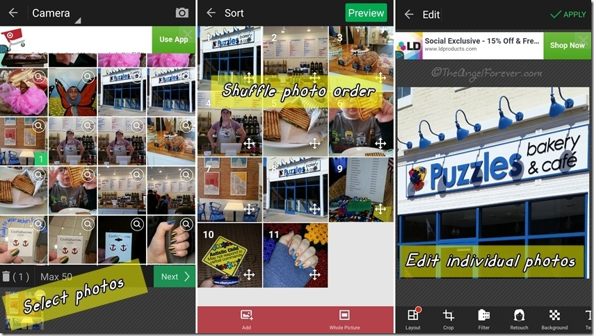 Creating video slides in PhotoGrid app