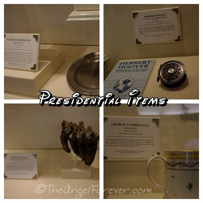 Presidential items inside The Hall of Presidents