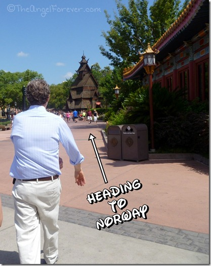 Walking to Norway in Epcot