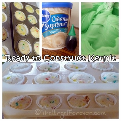 Ready for Kermit Cupcake Construction