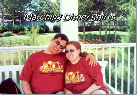 Matcing Disney Shirts on our honeymoon