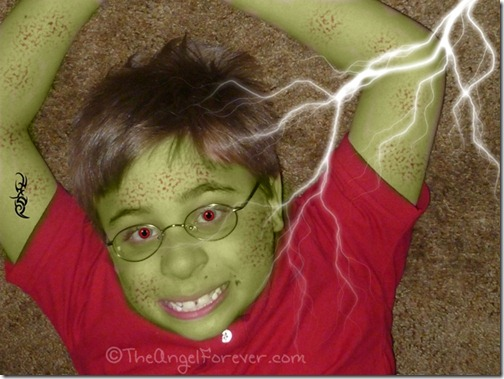 My kid as Hulk