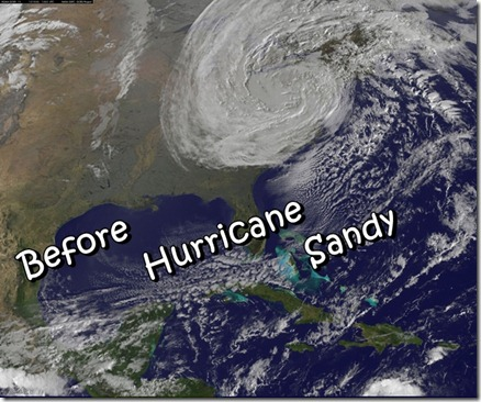 Hurricane Sandy photo via NASA