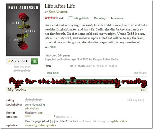 Life After Life Status page on Goodreads