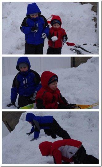 Both boys playing in the snow mountain