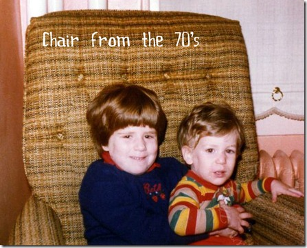 Child and chair of the 70's with little brother in 80's