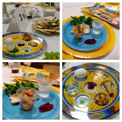 Closer view of Seder plates