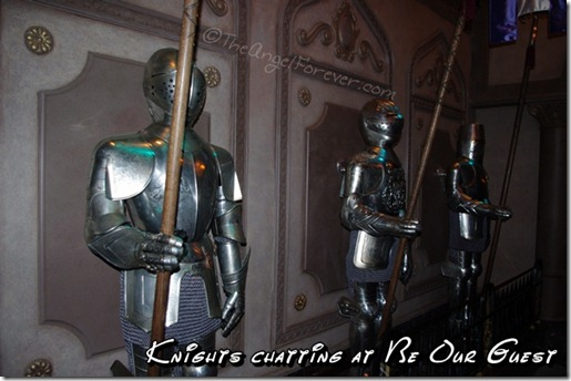 Knights chatting at Be Our Guest Restaurant