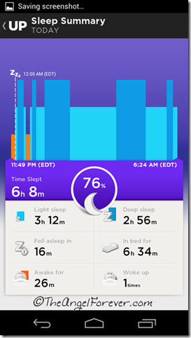 Sleep information on the UP by Jawbone