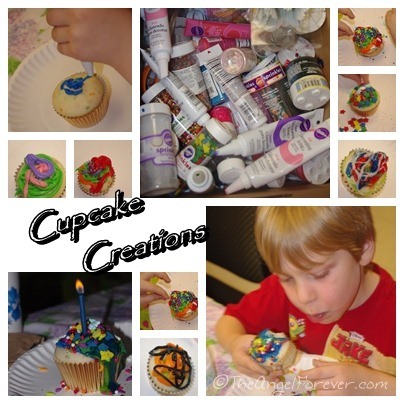 Kid decorated cupcakes at Pirate Party