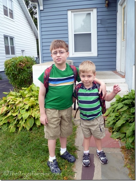 First day of grade 4 and little kindergarten brother