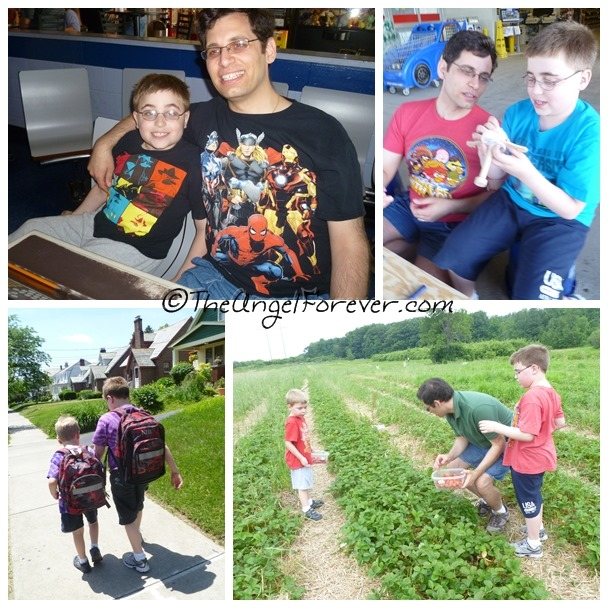 Monsters, end of school, bowling, and strawberry picking