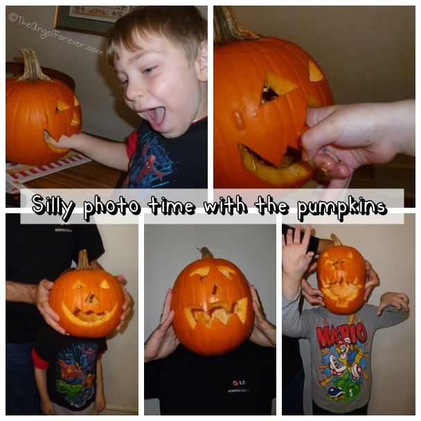Fun while pumpkin carving
