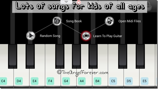 Screen of Learn Piano for Android devices
