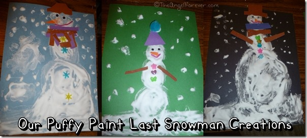 Last Snowman Puffy Paint Creations