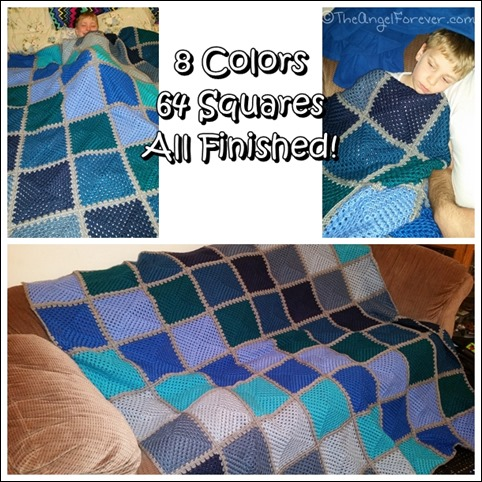 Completed Hues of Blue Granny Square Blanket