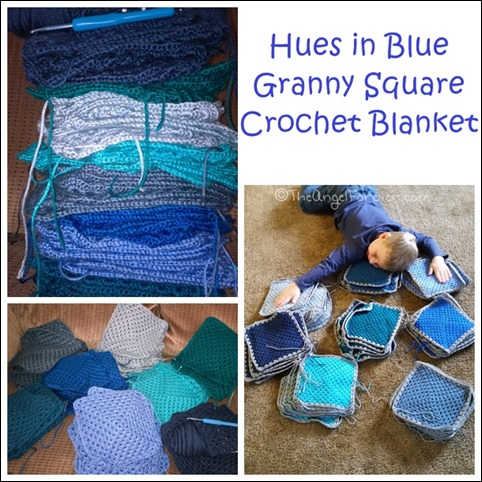 Hues in Blue Granny Square Crochet Blanket