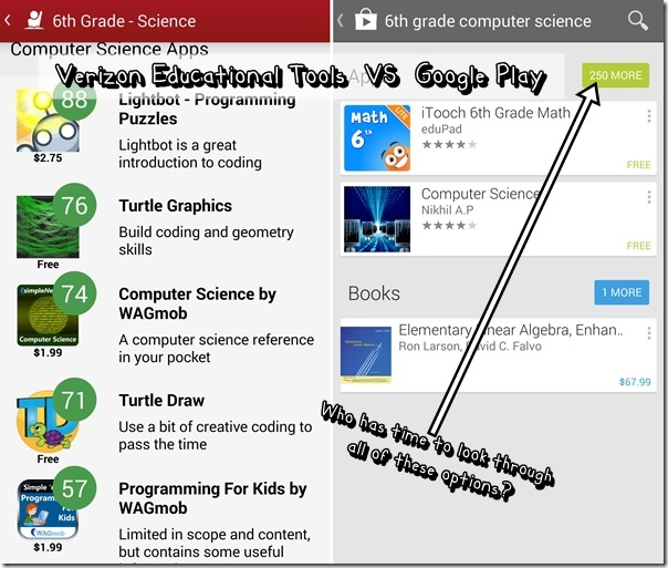 Verizon Educational Tools vs Google Play