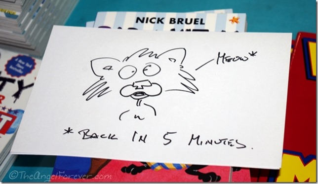 Bad Kitty sign drawn by Nick Bruel