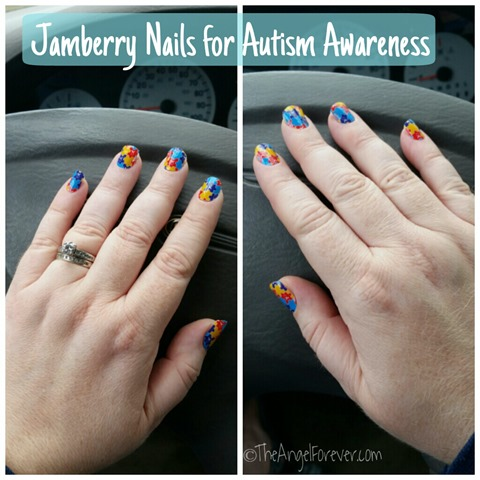Jamberry Nail Wrap Manicure for Autism Awareness
