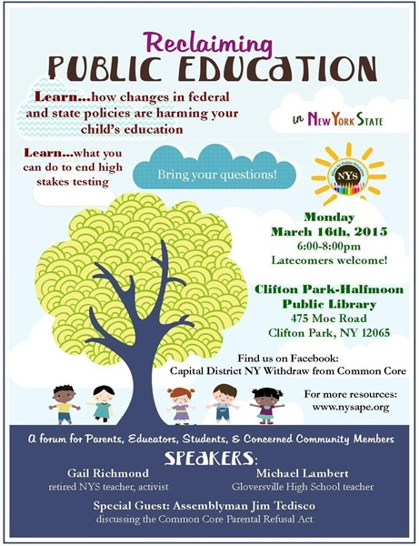 Reclaiming Public Education event in Clifton Park
