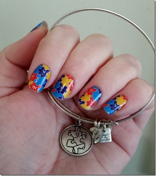 Autism Awareness Jamberry Nails and Bracelet