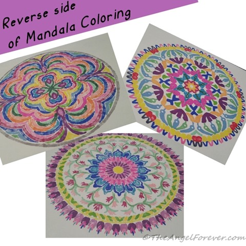 Reverse side of Mandala coloring