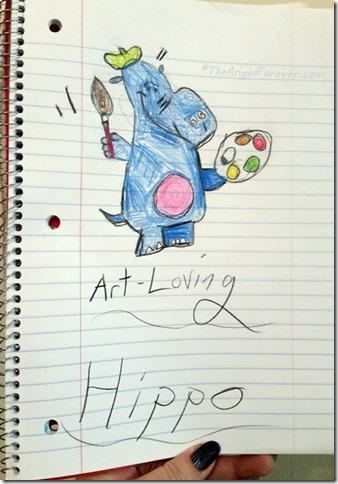 Art Loving Hippo Drawing