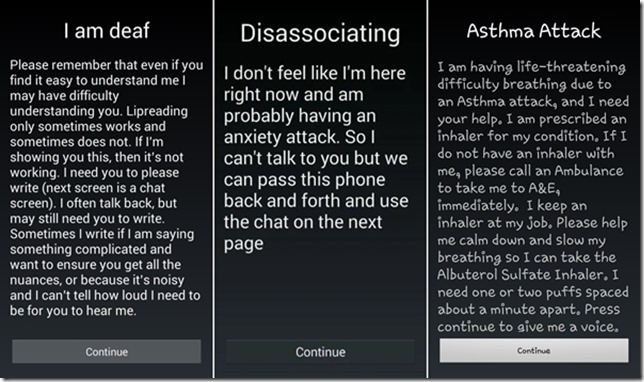 Emergency chat splash screen options