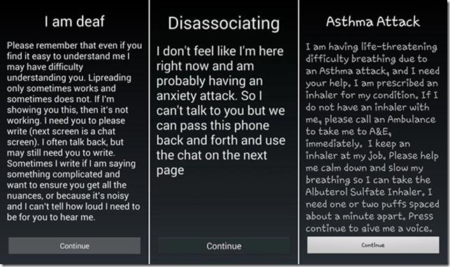 Emergency chat splash screen options