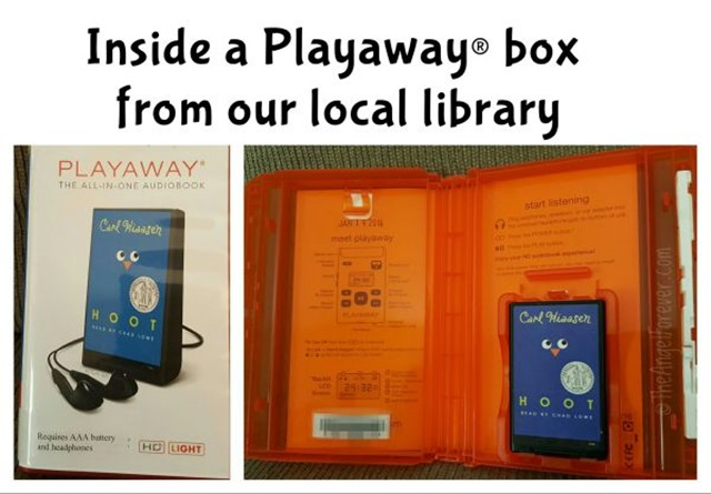 Inside a Playaway box from the library