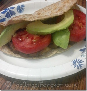 Avocado with tomato and veggie burger