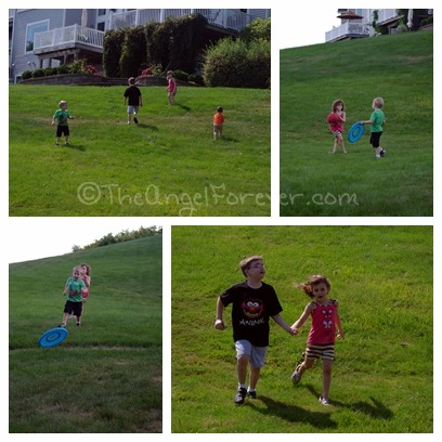 Cousins running and playing