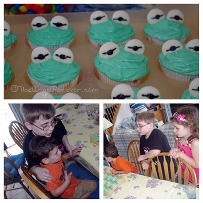 Kermit cupcakes with family