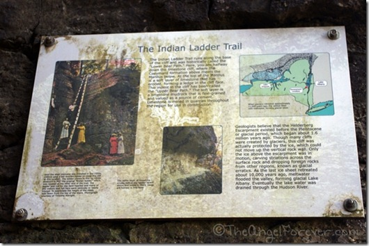 Sign for the Indian Ladder Trail in Thatcher State Park