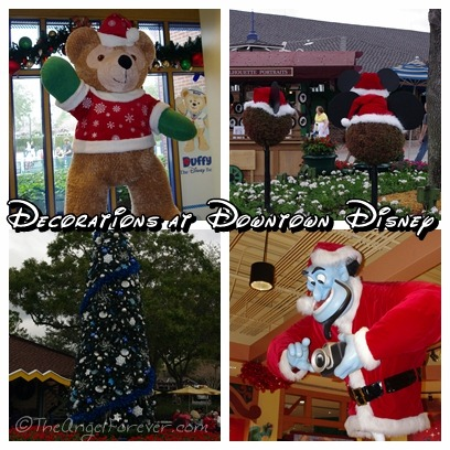 Holiday decorations at Downtown Disney