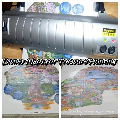 Disney Park maps in the laminator