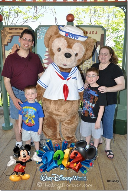 Family photo with Duffy at Epcot