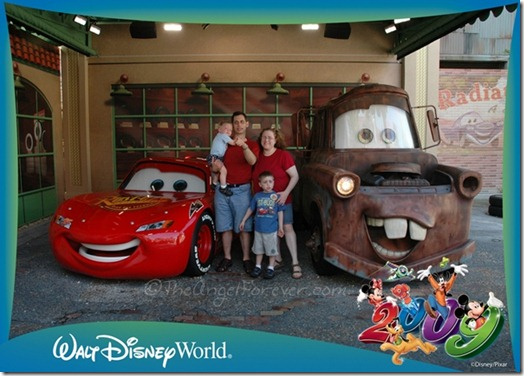 Family photo with Lightning McQueen and Mater